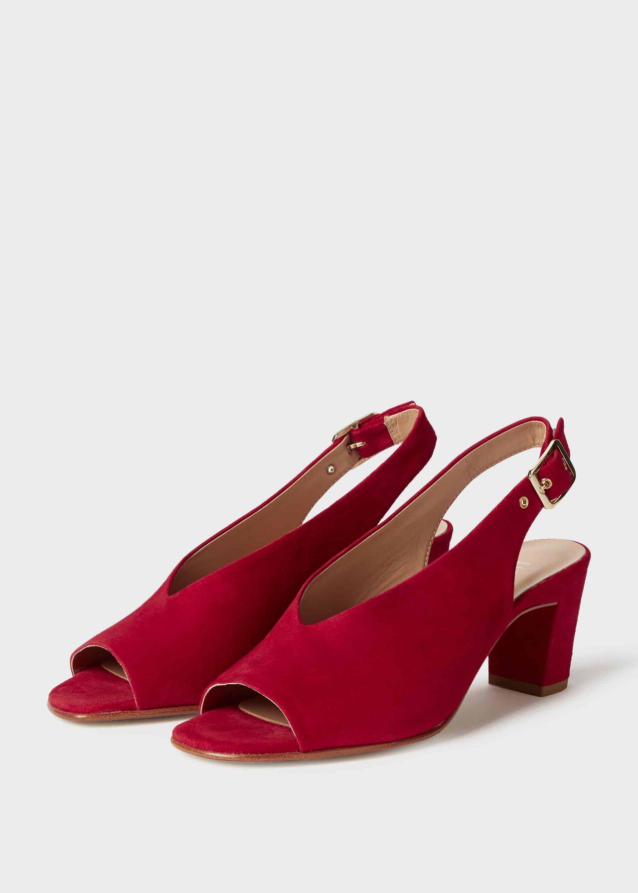 Kali Suede Block Heel Sandals Scarlet Red