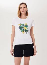 Pixie Printed T-Shirt, White Yellow, hi-res