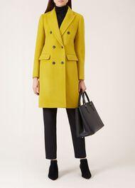 Bhavina Wool Blend Coat, Yellow Ochre, hi-res