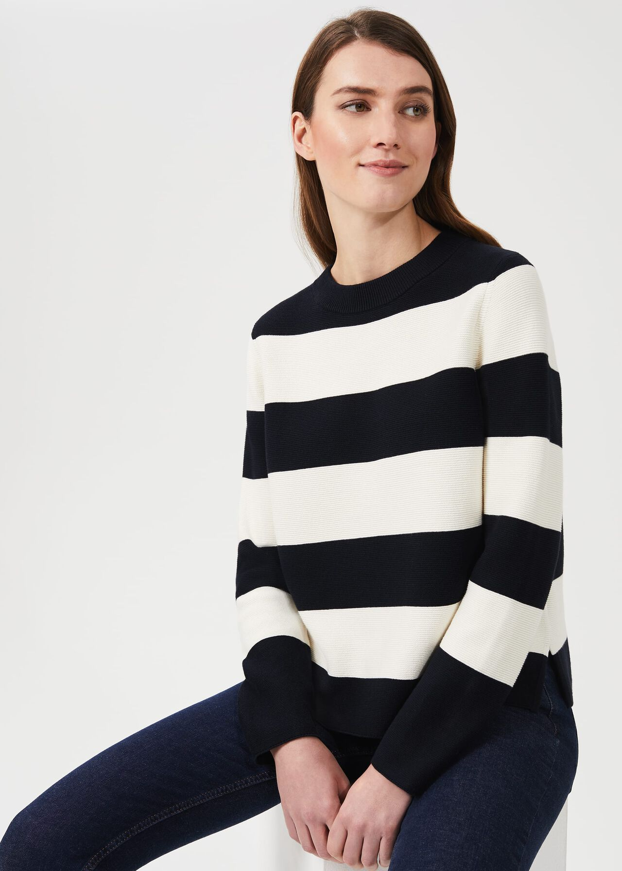 Cleo Cotton Stripe Jumper, Navy Ivory, hi-res