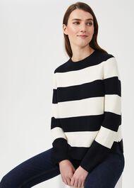 Cleo Cotton Stripe Jumper, Navy Ivory, hi-res