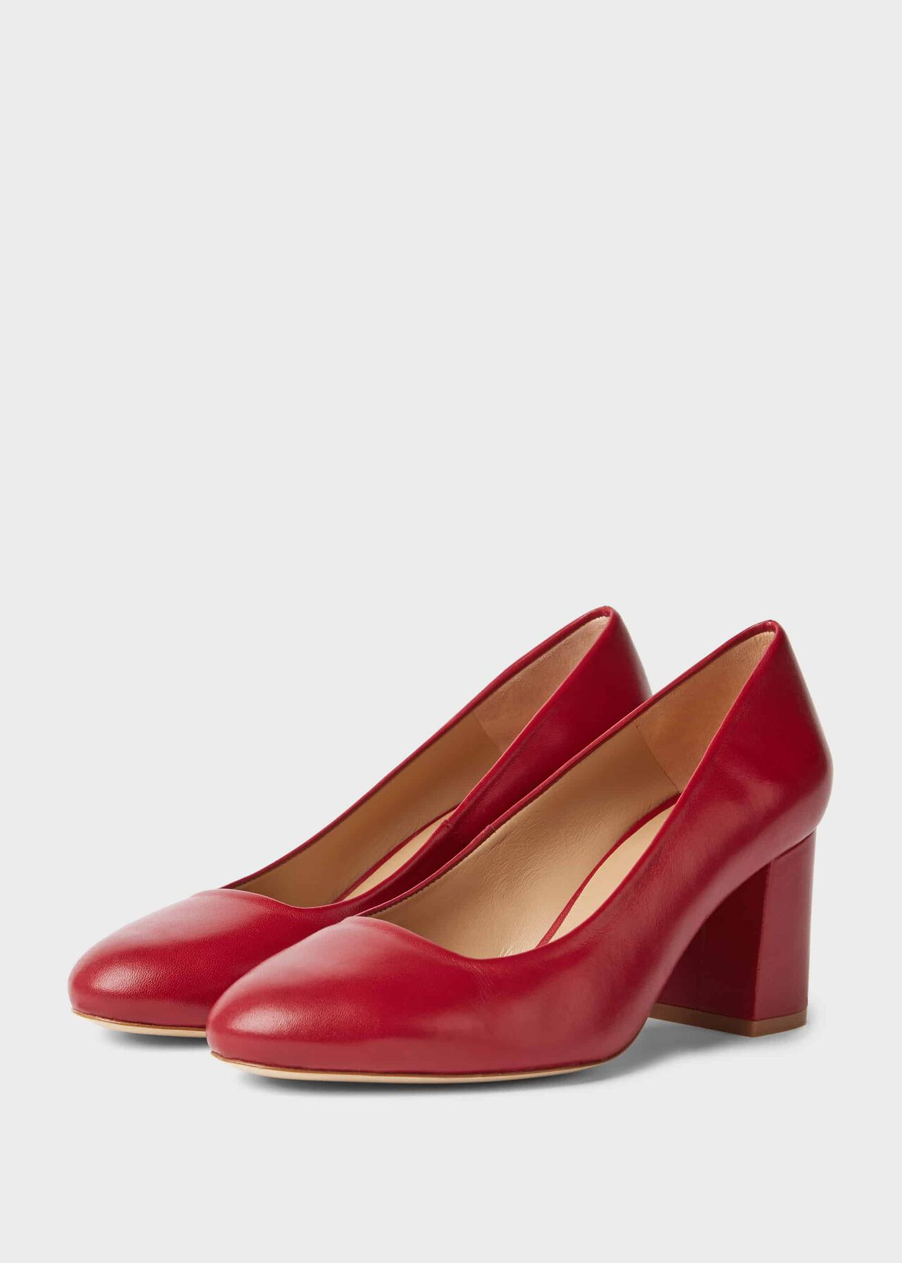 Lucy Wide Fit Leather Block Heel Court Shoes Red