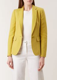 Trent  Silk Linen Blend Jacket, Burnt Lime, hi-res