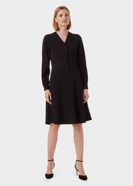 Lillian Fit And Flare Dress, Black, hi-res
