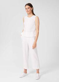 Luzia Wide Leg trousers With Linen, White, hi-res