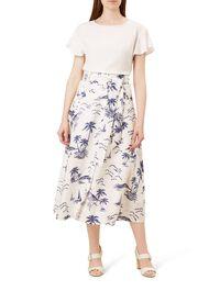 Floretta Linen Skirt, Ivory Navy, hi-res