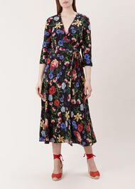 Chelsea Silk Dress, Black Multi, hi-res