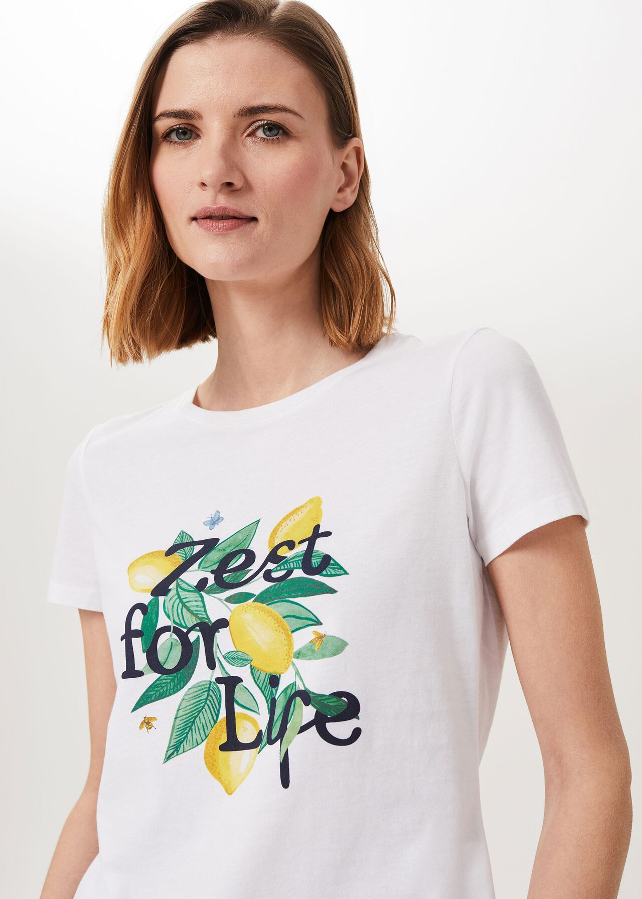Pixie Printed T-Shirt, White Yellow, hi-res