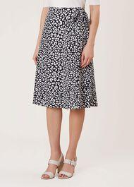 Iona Wrap Skirt, Navy Ivory, hi-res