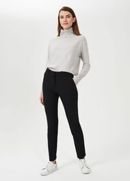 Petite Quin Tapered Trousers With Stretch, Black, hi-res