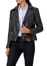 Yasmine Leather Jacket, Navy, hi-res