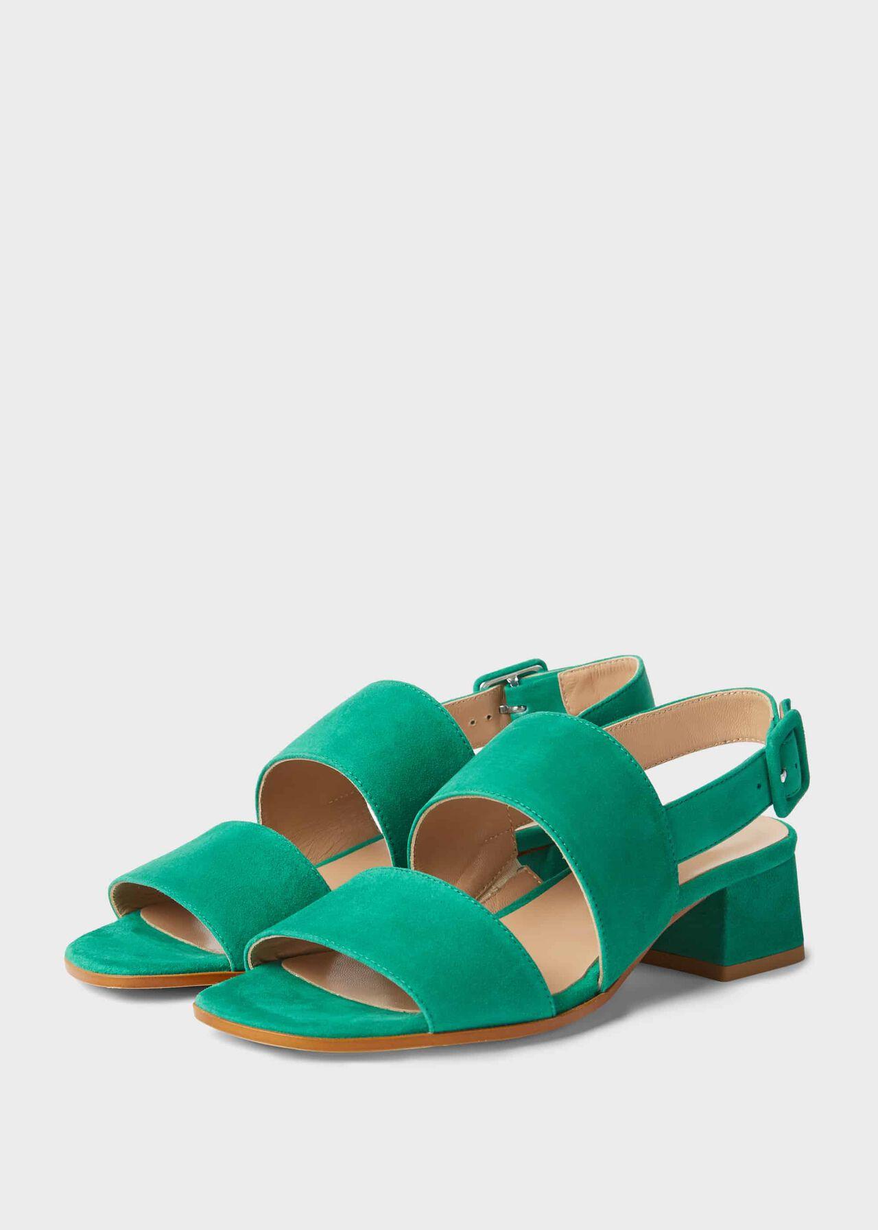 Claudia Suede Block Heel Sandals Field Green