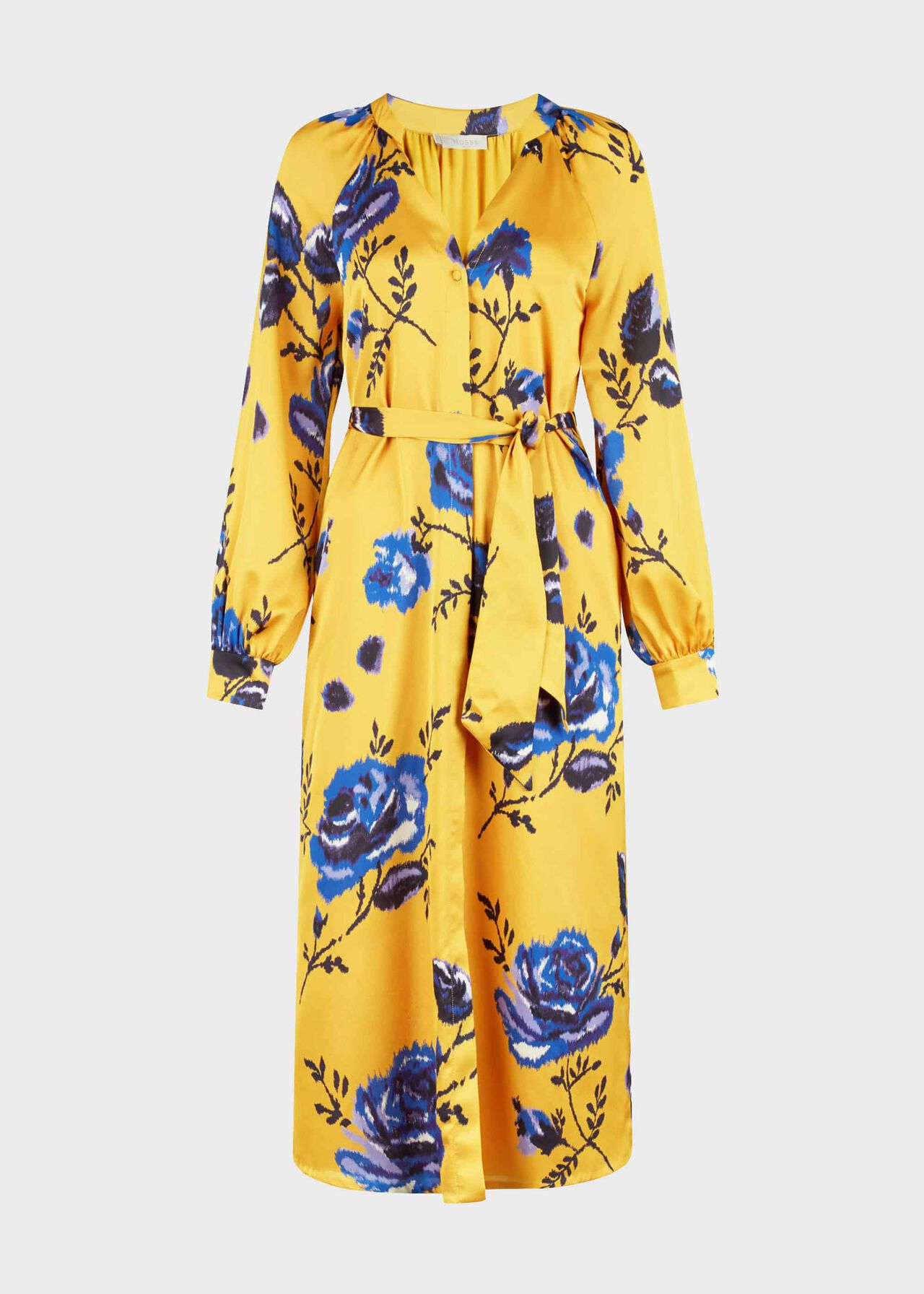 Rosalind Floral Midi Dress Yellow Blue