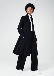 Milly Wool Blend Coat, Navy, hi-res