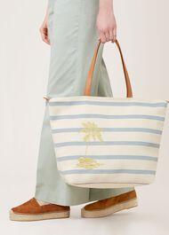 Palm Tree Canvas Bag, White, hi-res