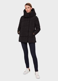Short Heather Puffer Jacket, Black, hi-res