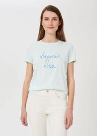 Jamie Slogan T-Shirt, Aqua Blue, hi-res