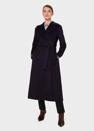 Rene Wrap Coat , Navy, hi-res