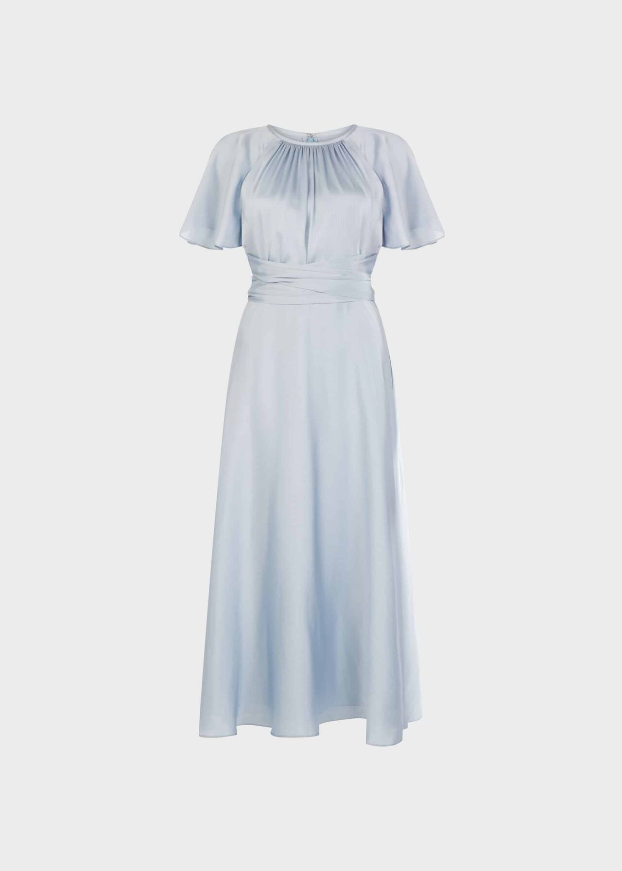 Mira Satin Fit And Flare Dress Pale Blue