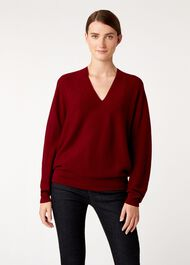 Emma Seamless Merino Wool Blend Sweater, Burgundy, hi-res