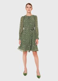 Frances Spot Belted Dress, Fern Green, hi-res