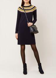 Greta Dress, Navy Green, hi-res