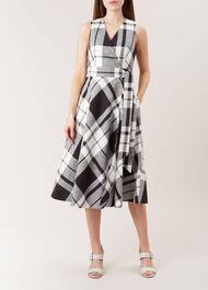 Esther Linen Blend Dress, Black White, hi-res