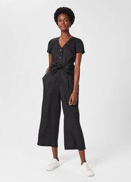 Jayne Linen Cropped Jumpsuit, Black, hi-res