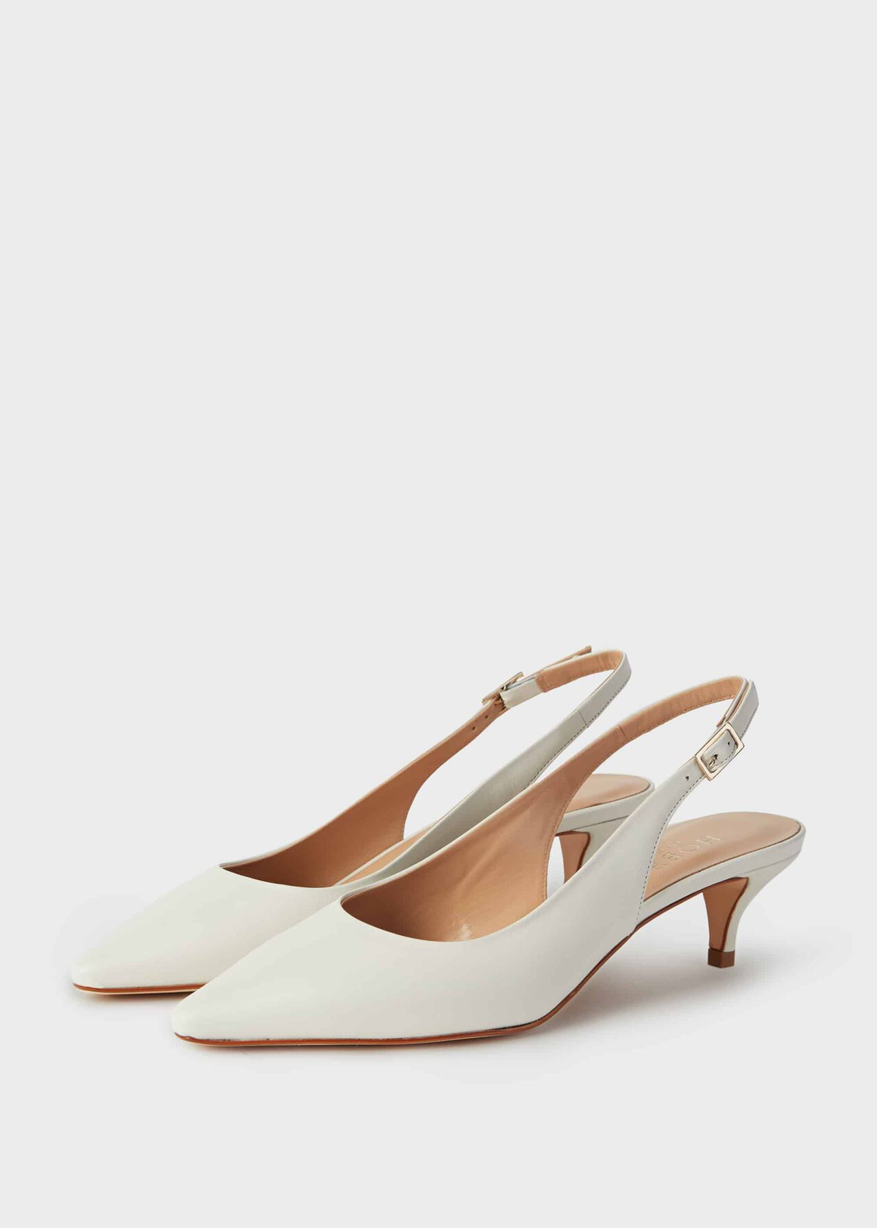 Annie Leather Slingback Court Shoes Ice White