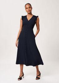 Vivien Satin Midi Dress, Navy, hi-res