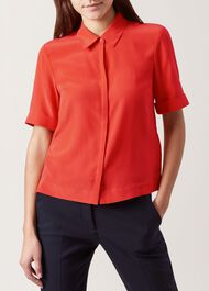 Ebony Silk Shirt, Burnt Amber, hi-res