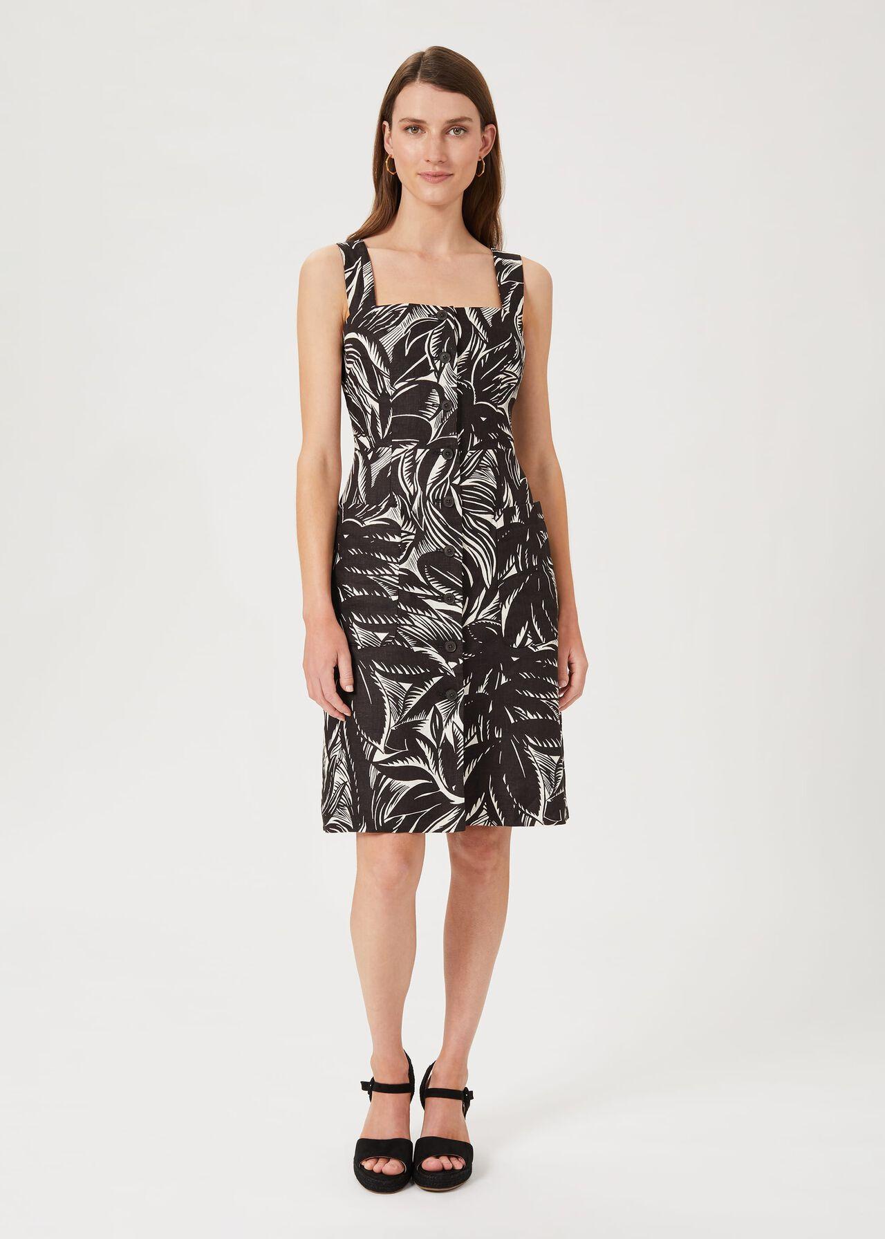 Harley Linen Printed Dress, Bark Ivory, hi-res