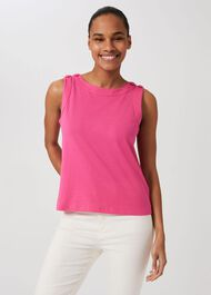 Maddy Cotton Vest, Hot Pink, hi-res
