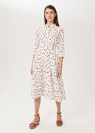 Leona Spot Midi Dress, Ivory Pecan, hi-res