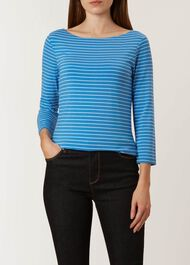 Striped Sonya Top, Blue Ivory, hi-res