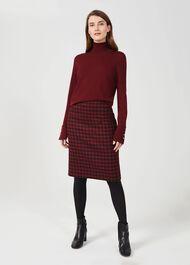 Daphne Wool Pencil Skirt, Red Black, hi-res