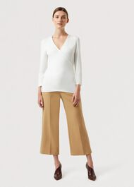 Joni V Neck Wrap Top, Ivory, hi-res