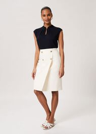 Jasmine Cotton Blend Pencil Skirt, Warm Ivory, hi-res