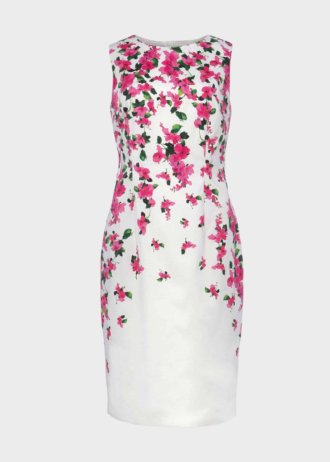 Fiona Cotton Blend Shift Dress Ivory Fuchsia