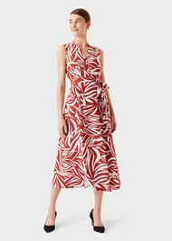 Shelly Printed Belted Dress, Rust Ivory, hi-res