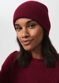 Mabel Cashmere Hat, Dark Raspberry, hi-res