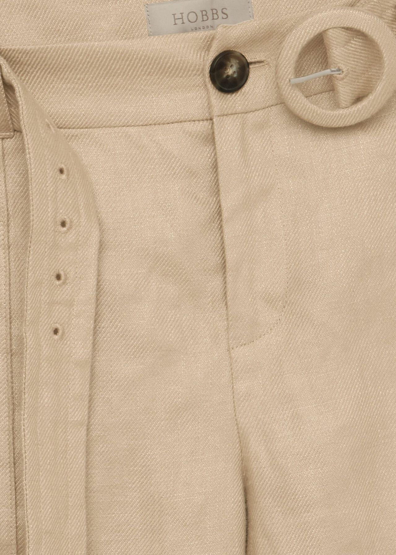 Kiera Linen Belted Trousers, Sand, hi-res