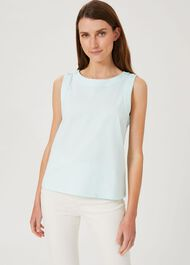 Maddy Cotton Vest, Aqua Blue, hi-res