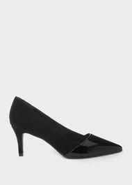Rowan Suede Court Shoes, Black, hi-res