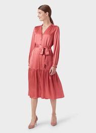 Esther Satin Shirt Dress, Pink, hi-res