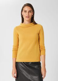 Audrey Wool Cashmere Jumper, Golden Yellow, hi-res