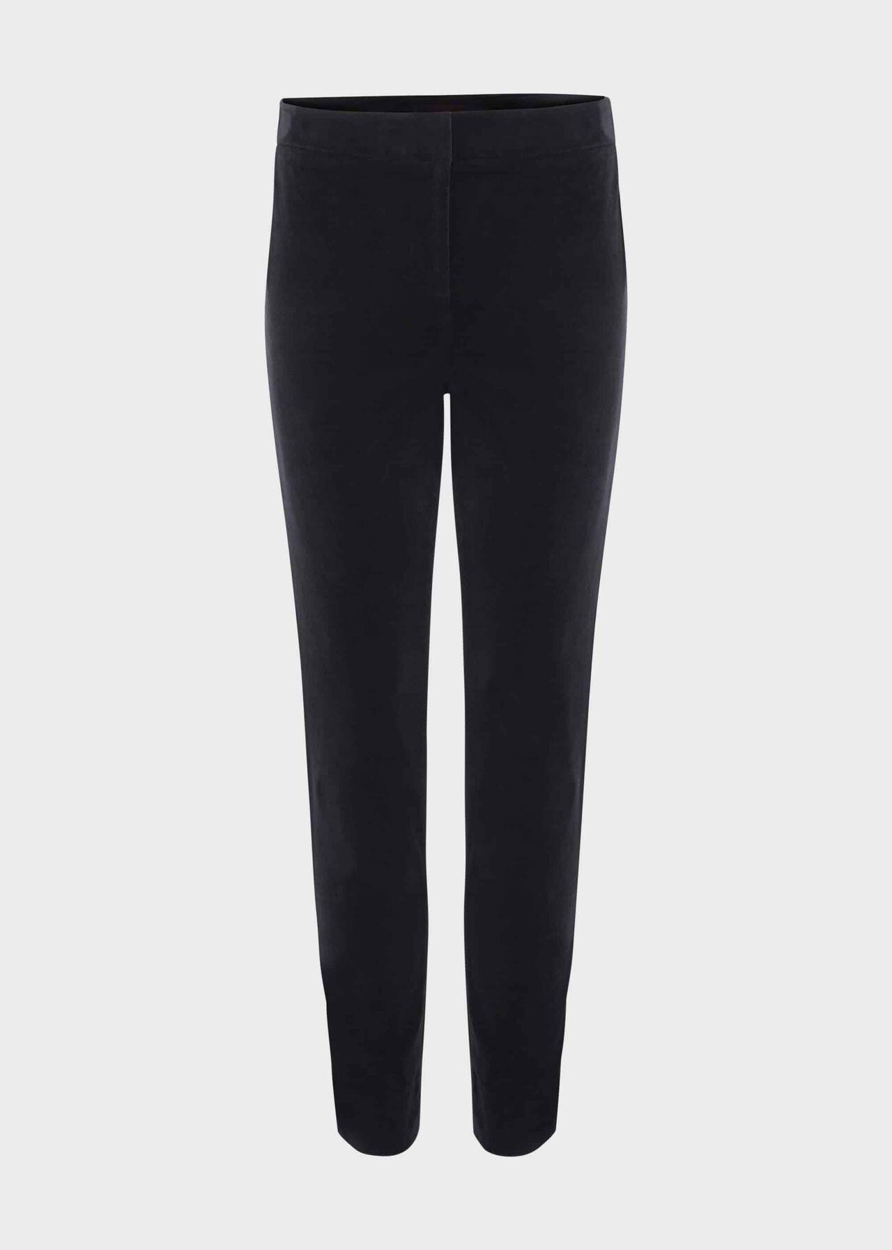 Paola Velvet Slim Trouser With Stretch Navy