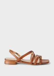 Gabrielle Leather Sandals, Tan, hi-res