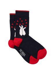 Bunny Love Sock, Navy Red, hi-res