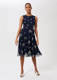 Julia Embroidered Floral Dress, Midnight, hi-res